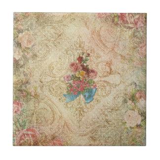 Shabby Vintage Floral Tile