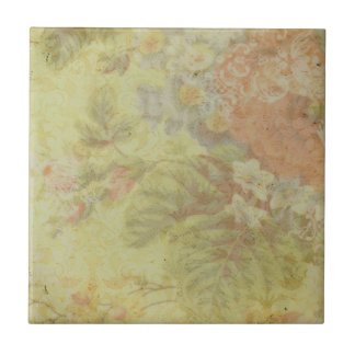 Shabby Vintage Floral Small Square Tile