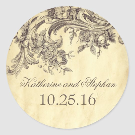 Shabby Vintage Flourishes Elegant Wedding Classic Round Sticker