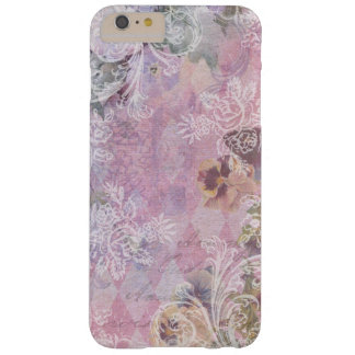 Shabby Vintage Purple Floral Collage Barely There iPhone 6 Plus Case