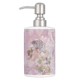 Shabby Vintage Purple Floral Soap Dispenser And Toothbrush Holder