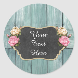 Shabby Vintage Roses Rustic Country Chalkboard Classic Round Sticker
