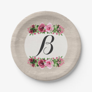 Shabby Vintage Roses Rustic Wood Monogram 7 Inch Paper Plate