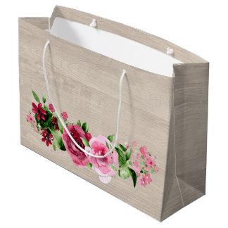Shabby Vintage Roses Rustic Wood Wedding Large Gift Bag