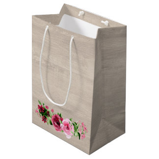 Shabby Vintage Roses Rustic Wood Wedding Medium Gift Bag