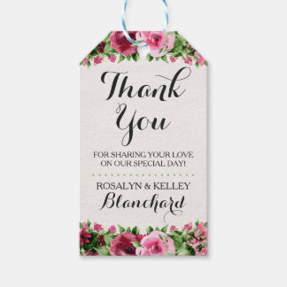 Shabby Vintage Roses Rustic Wood Wedding Thank You Gift Tags