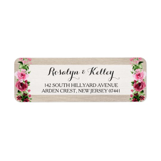 Shabby Vintage Watercolor Roses on Rustic Wood Return Address Label