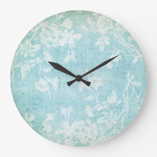 Shabby White and Blue Floral Large Clock