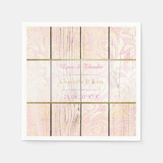 Shabby Wood Pink Rose Gold Rustic Floral Damask