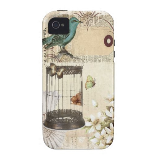 shabbychic Bird  cage collage Vintage Paris iPhone 4 Covers