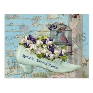 Shabbychic blue Paris shoe birdcage vintage Postcard