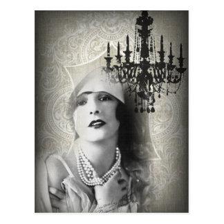 shabbychic chandelier  Vintage Paris Lady Fashion Postcard