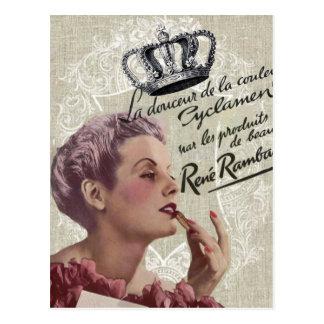 shabbychic crown Vintage Paris Lady Fashion Postcard