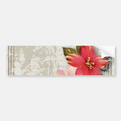 ShabbyChic Hawaii Floral Beach Wedding Favor Bumper Stickers