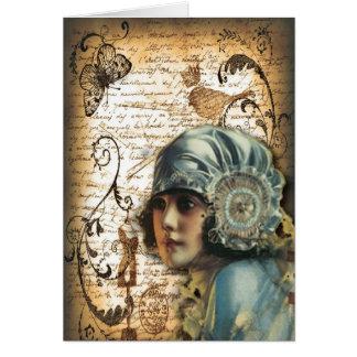 shabbychic Posh Vintage Paris Lady Fashion Greeting Card