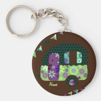 Shabbychic retro trailer, camper, caravan bunting basic round button key ring