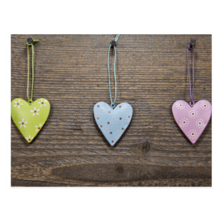 SHABBYCHIC tin hearts wood design Postcard