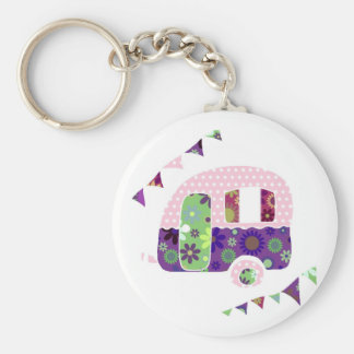 Shabbychic trailer, caravan camper with bunting basic round button key ring