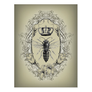 shabbychic Victorian Bee Queen crown Fashion Post Cards