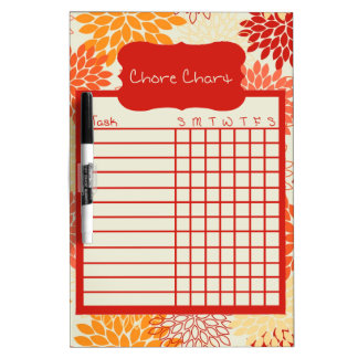 Shade of Orange Floral Chore Chart Dry Erase Board