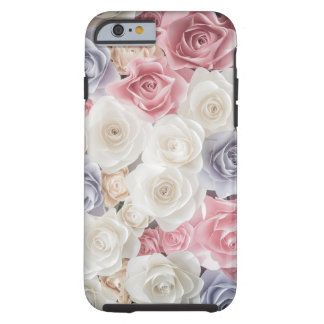 Shade of Pink and White Roses Tough iPhone 6 Case