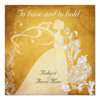 Shaded Gold To Have and Hold Wedding Invitation