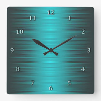 Shaded Turquoise Aqua Square Wall Clock