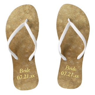 Shades Blended Gold Bride Wedding Date FlipFlops