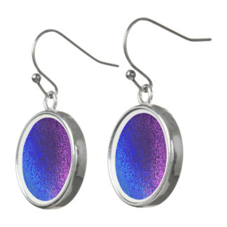 Shades Blue & Purple Shiny Abstract Drop Earrings