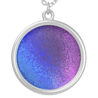 Shades Blue & Purple Shiny Abstract Round Necklace
