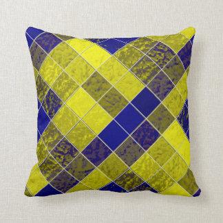 Shades Blues Yellows Diamonds Soft-Pillows Cushion