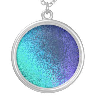 Shades in Blue Shiny Abstract Image Round Necklace