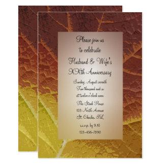 Shades of Autumn Leaf Wedding Anniversary Party Card