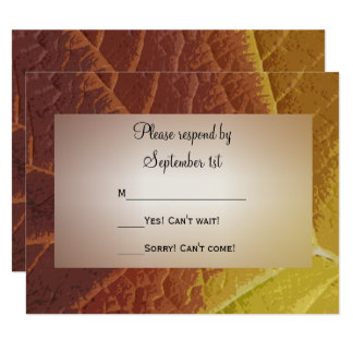 Shades of Autumn Wedding RSVP Response Card 11 Cm X 14 Cm Invitation Card