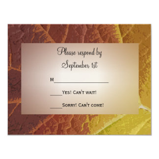 Shades of Autumn Wedding RSVP Response Card 11 Cm X 14 Cm Invitation Card