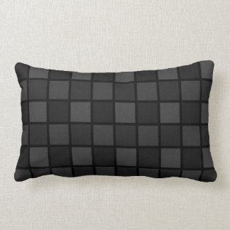 Shades Of Black Geometric Checked Pattern Lumbar Cushion