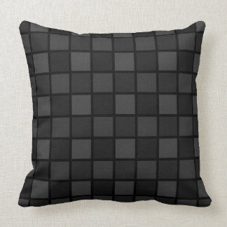 Shades Of Black Geometric Checked Pattern Throw Pillow