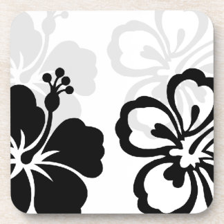 Shades of Black Hibiscus flower Coaster