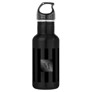 Shades of Black Stripes Manly Monogram 532 Ml Water Bottle