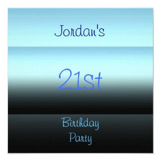 Shades of Blue 21st Birthday Party 13 Cm X 13 Cm Square Invitation Card