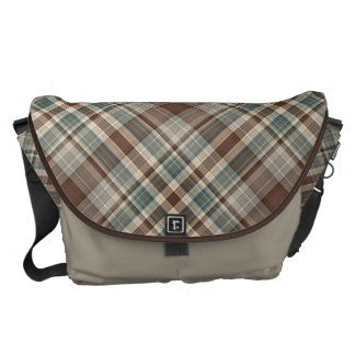 Shades of blue and brown check courier bags