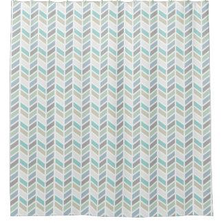 Shades of Blue and Gray Herringbone Pattern Design Shower Curtain