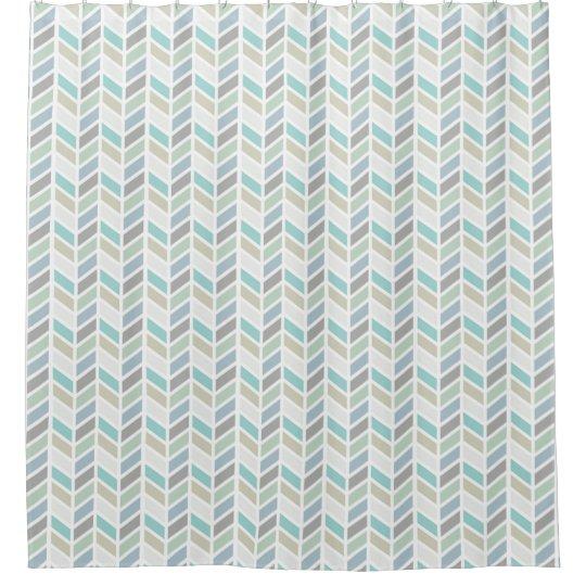 Shades of Blue and Grey Herringbone Pattern Design Shower Curtain