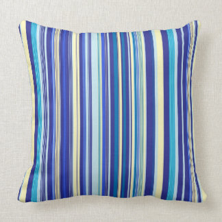 Shades of Blue and Yellow Vertical Stripes Cushion