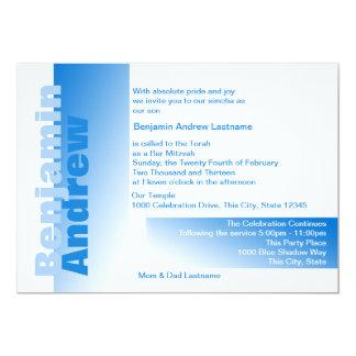 Shades of Blue Bar Mitzvah 13 Cm X 18 Cm Invitation Card