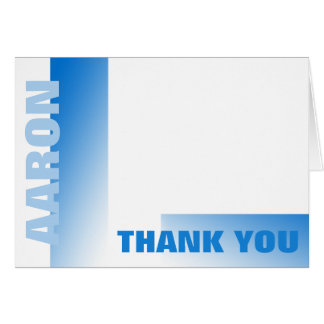 Shades of Blue Bar Mitzvah Thank You Note Card