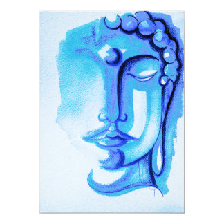 "SHADES OF BLUE BUDDHA MATTE 5"" x 7"", with Envelope 13 Cm X 18 Cm Invitation Card"