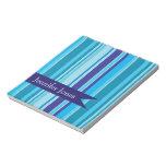 Shades of blue, custom striped notepad, gift idea