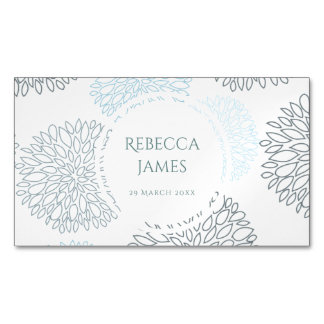 SHADES OF BLUE DAHLIA FLORAL PATTERN MONOGRAM MAGNETIC BUSINESS CARDS
