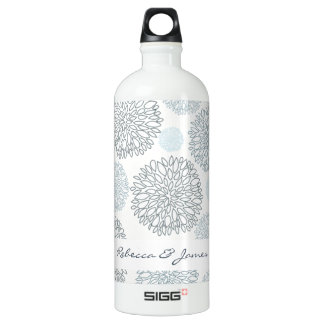 SHADES OF BLUE DAHLIA FLORAL PATTERN MONOGRAM SIGG TRAVELLER 1.0L WATER BOTTLE